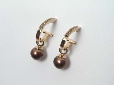 natural chocolate tahitian pearls with champage diamonds