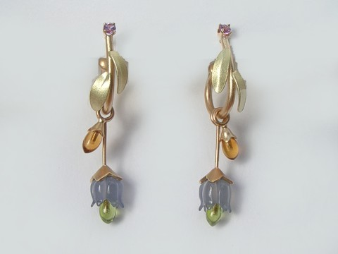 Chalcedony peridot amethyst earrings