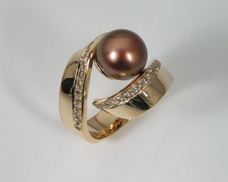 tahitian pearl diamonds ring